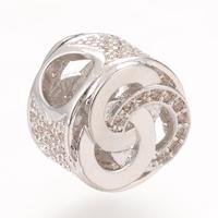 Messing European Perlen, Platinfarbe platiniert, Micro pave Zirkonia & ohne troll, frei von Nickel, Blei & Kadmium, 10.8X7.6mm, Bohrung:ca. 4-5mm, 5PCs/Tasche, verkauft von Tasche