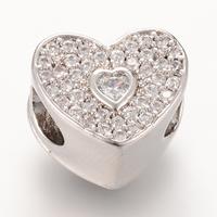 Messing European Perlen, Herz, Platinfarbe platiniert, Micro pave Zirkonia & ohne troll, frei von Nickel, Blei & Kadmium, 9.9x11.7mm, Bohrung:ca. 4-5mm, 5PCs/Tasche, verkauft von Tasche