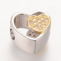 Messing European Perlen, Herz, plattiert, Micro pave Zirkonia & ohne troll, frei von Nickel, Blei & Kadmium, 11.1x11.2mm, Bohrung:ca. 4-5mm, 5PCs/Tasche, verkauft von Tasche