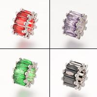 Messing European Perlen, Platinfarbe platiniert, ohne troll & mit kubischem Zirkonia, frei von Nickel, Blei & Kadmium, 9.6x6.1mm, Bohrung:ca. 4-5mm, 5PCs/Tasche, verkauft von Tasche