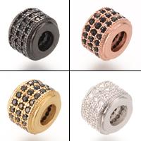 Zirkonia Micro Pave Messing Europa Bead, plattiert, Micro pave Zirkonia & ohne troll, keine, frei von Nickel, Blei & Kadmium, 9x6.6mm, Bohrung:ca. 4-5mm, 5PCs/Tasche, verkauft von Tasche