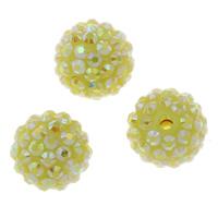 Lagerluft Perlen Schmuck, Harz, rund, mit Strass, gelb, 15mm, Bohrung:ca. 2mm, 10PCs/Tasche, verkauft von Tasche
