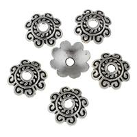 Zinklegierung Perlenkappe, Blume, antik silberfarben plattiert, frei von Blei & Kadmium, 19x19x4mm, Bohrung:ca. 3.5mm, 20PCs/Tasche, verkauft von Tasche