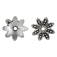 Zinklegierung Perlenkappe, Blume, antik silberfarben plattiert, frei von Blei & Kadmium, 14.50x14.50x4mm, Bohrung:ca. 2mm, 50PCs/Tasche, verkauft von Tasche