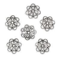 Zinklegierung Perlenkappe, Blume, antik silberfarben plattiert, frei von Blei & Kadmium, 14x14x3mm, Bohrung:ca. 1.5mm, 50PCs/Tasche, verkauft von Tasche