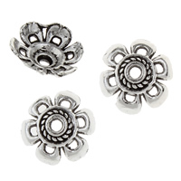 Zinklegierung Perlenkappe, Blume, antik silberfarben plattiert, frei von Blei & Kadmium, 4x11x11mm, Bohrung:ca. 2mm, 50PCs/Tasche, verkauft von Tasche