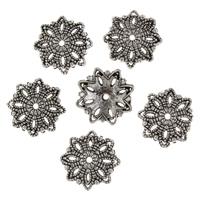 Zinklegierung Perlenkappe, Blume, antik silberfarben plattiert, frei von Blei & Kadmium, 3x15x15mm, Bohrung:ca. 1.5mm, 50PCs/Tasche, verkauft von Tasche