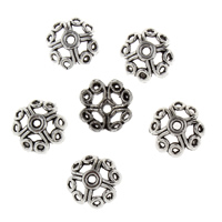 Zinklegierung Perlenkappe, Blume, antik silberfarben plattiert, frei von Blei & Kadmium, 5x10.50x10.50mm, Bohrung:ca. 2mm, 50PCs/Tasche, verkauft von Tasche