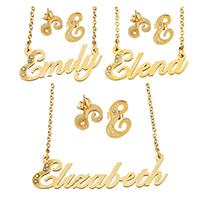 Edelstahl Schmucksets, Ohrring & Halskette, Buchstabe, goldfarben plattiert, Oval-Kette & verschiedene Stile für Wahl & für Frau & mit Strass, 10SetsSatz/Menge, verkauft von Menge