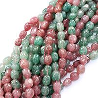 Strawberry Quartz Perle, Klumpen, natürlich, verschiedene Größen vorhanden, Bohrung:ca. 0.5-1mm, verkauft per ca. 16 ZollInch Strang
