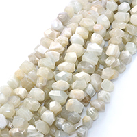 Mondstein Perlen, natürlich, facettierte, 12x12mm, Bohrung:ca. 0.5mm, ca. 34PCs/Strang, verkauft per ca. 16 ZollInch Strang