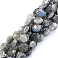 Labradorit Perlen, flache Runde, natürlich, verschiedene Größen vorhanden & facettierte, Bohrung:ca. 0.5-1mm, verkauft per ca. 16 ZollInch Strang