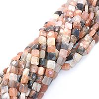 Mondstein Perlen, Quadrat, natürlich, verschiedene Größen vorhanden & facettierte, Bohrung:ca. 0.5-1mm, verkauft per ca. 16 ZollInch Strang