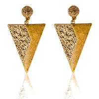 Zinklegierung Tropfen Ohrring, Edelstahl Stecker, Dreieck, antike Goldfarbe plattiert, frei von Blei & Kadmium, 35x60mm, verkauft von Paar