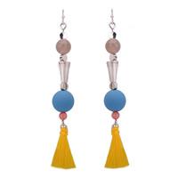 Mode-Fringe-Ohrringe, Zinklegierung, mit Nylonschnur & Harz, Eisen Haken, Platinfarbe platiniert, frei von Blei & Kadmium, 85mm, verkauft von Paar