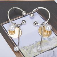 Zinklegierung Ohrringe, mit ABS-Kunststoff-Perlen, Edelstahl Stecker, plattiert, frei von Blei & Kadmium, 80mm, verkauft von Paar