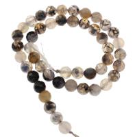 Natürliche Kaffee Achat Perlen, rund, verschiedene Größen vorhanden & facettierte, Bohrung:ca. 1mm, verkauft per ca. 15 ZollInch Strang