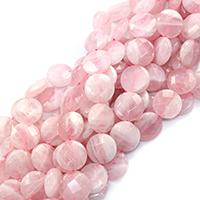 Natürliche Rosenquarz Perlen, flache Runde, verschiedene Größen vorhanden & facettierte, Bohrung:ca. 0.5-1mm, verkauft per ca. 16 ZollInch Strang