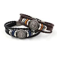 Herren-Armband & Bangle, Kuhhaut, mit Hämatit & Zinklegierung, Löwe, plattiert, geflochten & für den Menschen & 3-Strang, keine, frei von Nickel, Blei & Kadmium, 6mm, verkauft per ca. 8 ZollInch Strang