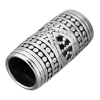Edelstahl-Perlen mit großem Loch, Edelstahl, Zylinder, Schwärzen, 23x12x12mm, Bohrung:ca. 8.5mm, 10PCs/Menge, verkauft von Menge