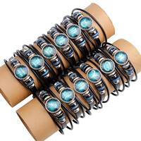 Unisex-Armband & Bangle, Kuhhaut, mit Epoxy-Sticker & Hämatit & Holz & Zinklegierung, Platinfarbe platiniert, mit Sternbild-Muster & verschiedene Muster für Wahl & 3-Strang, 50mm, verkauft per ca. 8.6 ZollInch Strang
