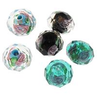 Inneren Blume-Lampwork-Beads, Lampwork, Rondell, handgemacht, facettierte & Goldsand & innen Blume, keine, 9x12mm, Bohrung:ca. 2mm, 5PCs/Tasche, verkauft von Tasche