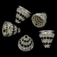 Zinklegierung Perlenkappe, silberfarben plattiert, mit Strass, frei von Blei & Kadmium, 12x13mm, Bohrung:ca. 9mm, 5PCs/Tasche, verkauft von Tasche