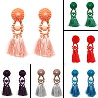 Mode-Fringe-Ohrringe, Zinklegierung, mit Nylonschnur & Harz, Edelstahl Stecker, QuasteTroddel, goldfarben plattiert, für Frau, keine, frei von Blei & Kadmium, 106x30mm, verkauft von Paar