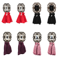 Mode-Fringe-Ohrringe, Zinklegierung, mit Wolle & Kristall & Strass, Edelstahl Stecker, antike Bronzefarbe plattiert, für Frau & facettierte, keine, frei von Blei & Kadmium, 60x23mm, verkauft von Paar