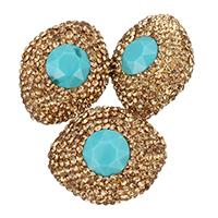Kristall-Perlen, Lehm pflastern, mit Kristall, oval, facettierte & mit Strass, 21x27x15mm, Bohrung:ca. 1mm, 10PCs/Tasche, verkauft von Tasche