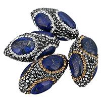 Lapislazuli Perlen, Lehm pflastern, mit natürlicher Lapislazuli, oval, mit Strass, keine, 17x33x17mm, Bohrung:ca. 1mm, 10PCs/Tasche, verkauft von Tasche