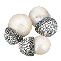 Natürliche Süßwasser, lose Perlen, Natürliche kultivierte Süßwasserperlen, mit Ton, gemischt, 12-16x20-22x12-16mm, Bohrung:ca. 1mm, 10PCs/Tasche, verkauft von Tasche