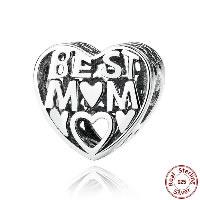 Thailand European Perlen, mit organisches Glas, Herz, Wort Beste Mama, Mutter Tag Schmuck & hohl, 10x10mm, Bohrung:ca. 4.5-5mm, verkauft von PC