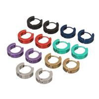 Huggie Ohrreifen, Edelstahl, plattiert, mit Bemaltung, gemischte Farben, 14mm, 7PaarePärchen/Tasche, verkauft von Tasche