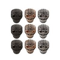 Strass Messing Perlen, Schädel, plattiert, mit Strass, keine, frei von Nickel, Blei & Kadmium, 10x12mm, Bohrung:ca. 2mm, 2PCs/Tasche, verkauft von Tasche