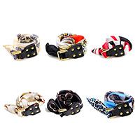 Polyester Armband, mit Kuhhaut & Zinklegierung, Platinfarbe platiniert, verschiedene Muster für Wahl & für Frau & 2 strängig, 25mm, verkauft per ca. 16.5 ZollInch Strang