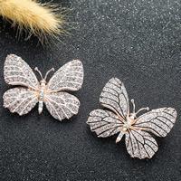 Strass Brosche, Zinklegierung, Schmetterling, goldfarben plattiert, für Frau & Emaille & mit Strass, keine, frei von Blei & Kadmium, 47x36mm, verkauft von PC