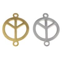 Edelstahl Schmuckverbinder, Frieden Logo, plattiert, 1/1-Schleife, keine, 16x22x1mm, Bohrung:ca. 2mm, verkauft von PC