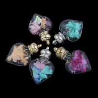 Glassturz Anhänger, Glas, mit Seidenspinnerei & Strass & Zinklegierung, Herz, plattiert, keine, 32x50x16mm, Bohrung:ca. 2mm, verkauft von PC