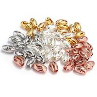 Messing hohle Perlen, oval, plattiert, keine, frei von Nickel, Blei & Kadmium, 10x6x6mm, Bohrung:ca. 2.5mm, ca. 500 PCs/Tasche, verkauft von Tasche