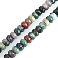 Natürliche Indian Achat Perlen, Indischer Achat, Rondell, verschiedene Größen vorhanden & facettierte, Bohrung:ca. 0.5-2mm, verkauft per ca. 15 ZollInch Strang