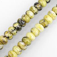 gelbe Türkis Perle, Rondell, verschiedene Größen vorhanden, Bohrung:ca. 0.5-2mm, verkauft per ca. 15.5 ZollInch Strang