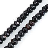 Natürliche schwarze Achat Perlen, Schwarzer Achat, Rondell, gefärbt & verschiedene Größen vorhanden & facettierte, Bohrung:ca. 0.5-2mm, verkauft per ca. 15 ZollInch Strang