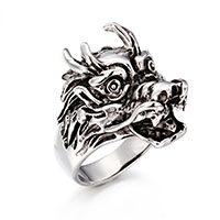 Edelstahl Herren-Fingerring, Drachen, verschiedene Größen vorhanden & für den Menschen & Schwärzen, 16x25mm, 5mm, verkauft von PC