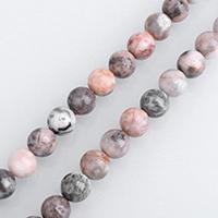 Zebra Jaspis Perle, rund, verschiedene Größen vorhanden, Rosa, verkauft per ca. 15.5 ZollInch Strang