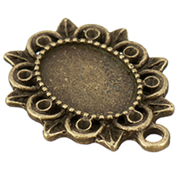 Zink-Legierung Cabochon Weissgold, Zinklegierung, antike Bronzefarbe plattiert, frei von Nickel, Blei & Kadmium, 20x25x1.50mm, Bohrung:ca. 2mm, Innendurchmesser:ca. 10x14mm, 500PCs/Menge, verkauft von Menge