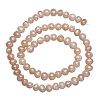 Natürliche Süßwasser, lose Perlen, Natürliche kultivierte Süßwasserperlen, Rosa, 6-7mm, Bohrung:ca. 0.8mm, verkauft per ca. 15 ZollInch Strang