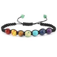 Edelstein Woven Ball Armband, mit Nylonschnur & Baumwollsamt, unisex & einstellbar & verschiedene Stile für Wahl, Länge:7.5-8 ZollInch, 2SträngeStrang/Menge, verkauft von Menge