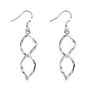 Messing Tropfen Ohrring, platiniert, für Frau, frei von Nickel, Blei & Kadmium, 11x49mm, verkauft von Paar