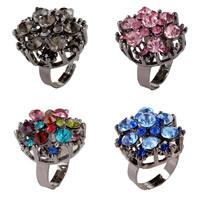Zinklegierung Open -Finger-Ring, Blume, metallschwarz plattiert, für Frau & mit Strass, keine, frei von Nickel, Blei & Kadmium, 25mm, Größe:6-9, verkauft von PC